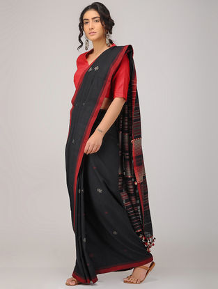 Black-Red Tussar Silk Cotton Saree with Tassels