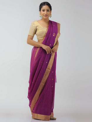 Magenta Chanderi Saree with Zari