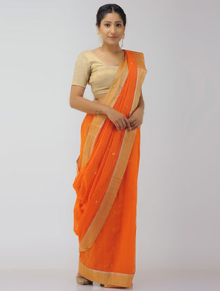 Orange Chanderi Saree with Zari