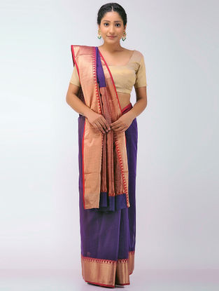 Purple-Pink Chanderi Saree with Zari