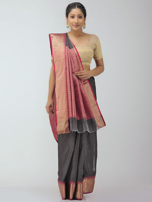 Grey-Pink Chanderi Saree with Zari