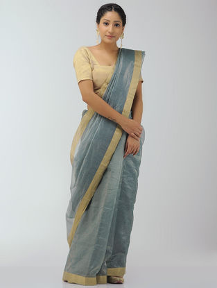 Grey-Blue Chanderi Saree with Zari