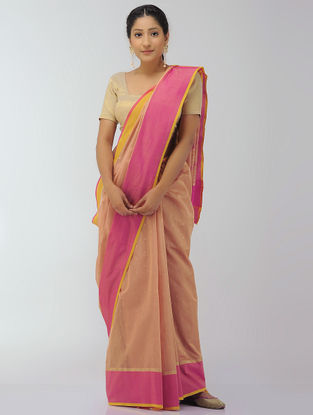 Peach-Pink Chanderi Saree with Zari
