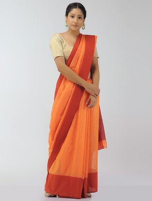 Orange-Red Chanderi Saree with Zari