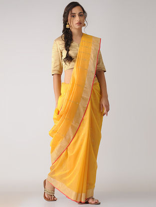 Mustard Chanderi Saree with Zari