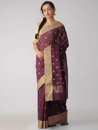 Burgundy Chanderi Saree with Zari