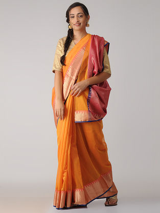 Orange-Pink Chanderi Saree with Zari