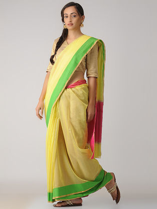 Yellow-Pink Chanderi Saree with Zari Border