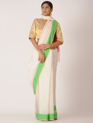 Ivory-Pink Chanderi Saree with Zari Border