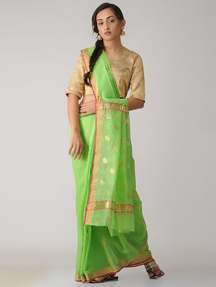 Green Chanderi Saree with Zari