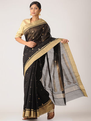 Black Chanderi Saree with Zari