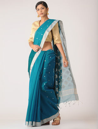 Blue Chanderi Saree with Zari