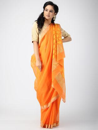 Orange-Yellow Chanderi Saree with Zari