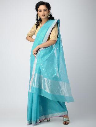 Blue Chanderi Saree with Zari