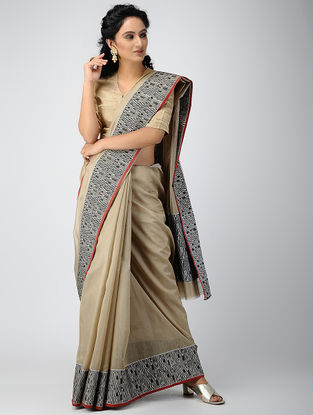 Beige-Black Chanderi Saree with Zari