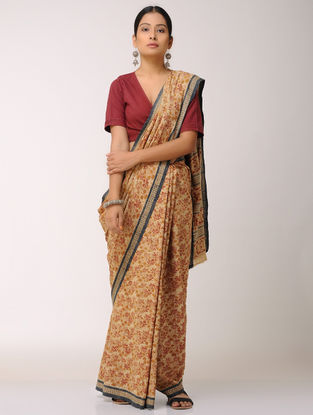 Beige-Red Kalamkari-printed Malkha Saree