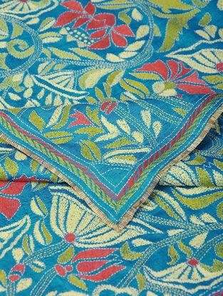 Blue-Red Kantha-embroidered Tussar Silk Dupatta