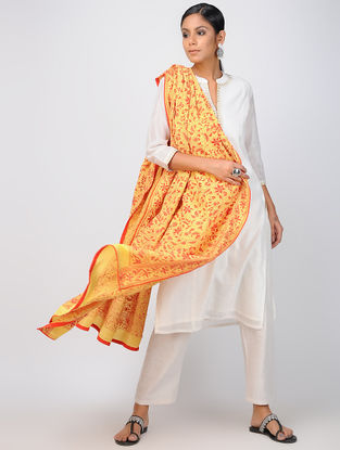 Yellow-Red Kantha-embroidered Crepe Silk Dupatta