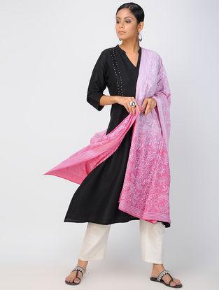 Pink-Ivory Kantha-embroidered Crepe Silk Dupatta