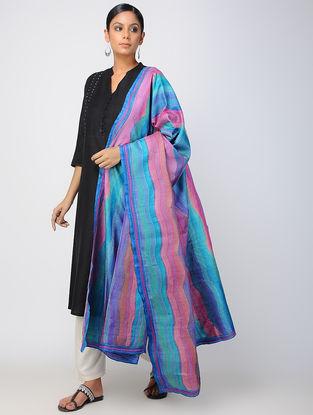 Blue-Pink Kantha-embroidered Tussar Silk Dupatta
