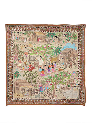 Village Scene Kantha Hand-embroidered Wall Art - 43in x 42.5in