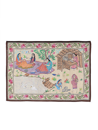 Working Women Kantha Hand-embroidered Wall Art - 20in x 29in