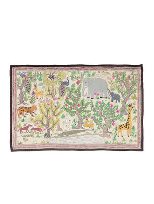 Jungle Scene Kantha Hand-embroidered Wall Art - 21.5in x 33in