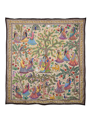 Radha Krishna with Gopiyaan Kantha Hand-embroidered Wall Art - 42.5in x 40in