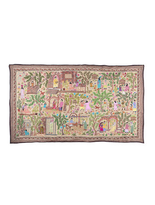 Village Scene Kantha Hand-embroidered Wall Art - 41.5in x 71in