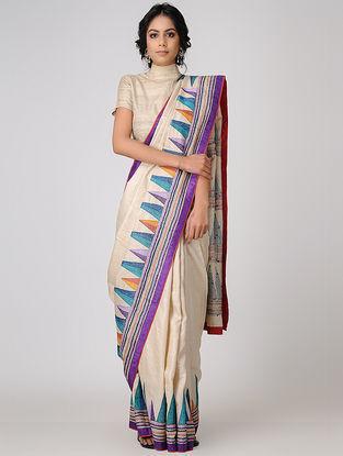 Beige-Blue Kantha-embroidered Tussar Silk Saree