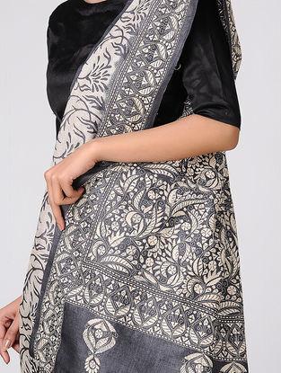 Black-Ivory Kantha-embroidered Tussar Silk Saree