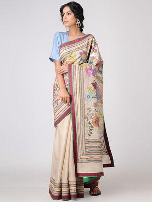 Beige-Multicolored Kantha-embroidered Tussar Silk Saree