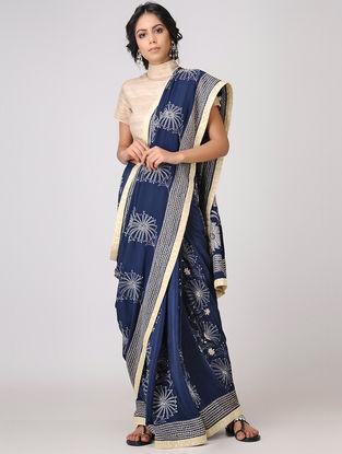 Blue-Beige Kantha-embroidered Crepe Saree