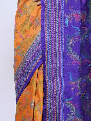 Mustard-Blue Kantha-embroidered Tussar Silk Saree