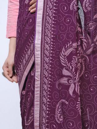 Purple Kantha-embroidered Georgette Saree