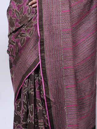 Maroon-Pink Kantha-embroidered Tussar Silk Saree