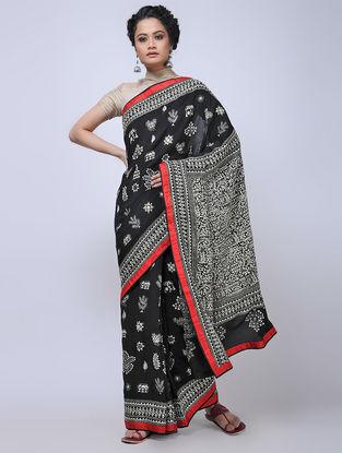 Black-Ivory Kantha-embroidered Crepe Silk Saree