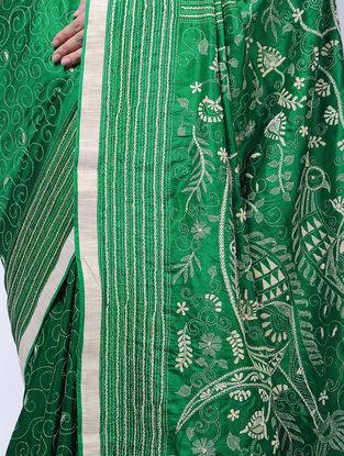 Green-Ivory Kantha-embroidered Silk Saree