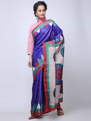 Blue-Green Kantha-embroidered Tussar Silk Saree