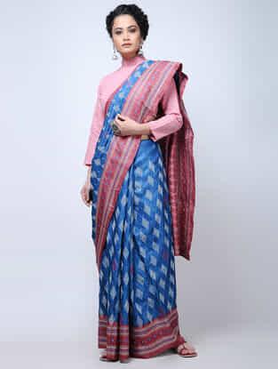 Blue-Red Kantha-embroidered Tussar Silk Saree