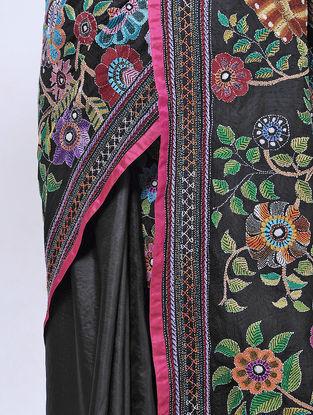 Black-Green Kantha-embroidered Silk Saree