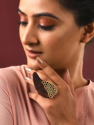 Gold-plated Silver and Wood Ring (Ring Size -5.5)