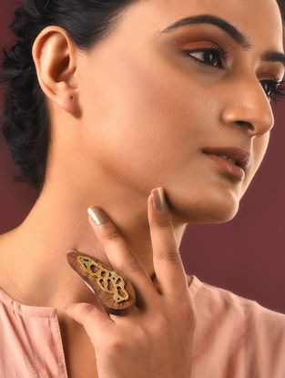Gold-plated Silver and Wood Ring (Ring Size -6)