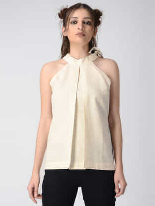 Beige Tie-up Handwoven Khadi Top