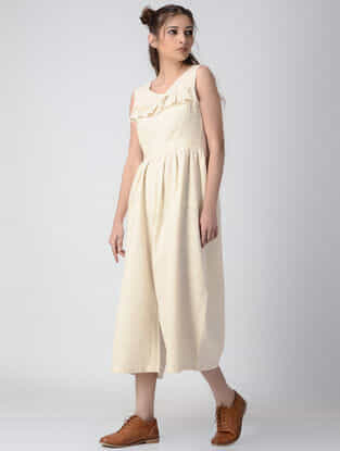 Beige Handwoven Khadi Jumpsuit with Gathers