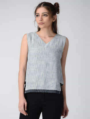 Blue Handwoven Organic Khadi Top