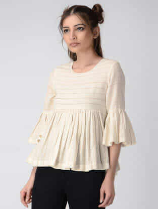 Ivory Handwoven Organic Khadi Silk Top with Gathers