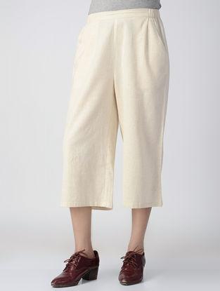 Beige Elasticated Waist Handwoven Khadi Culottes