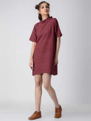 Maroon Pleated Collar Handwoven Organic Khadi Dress