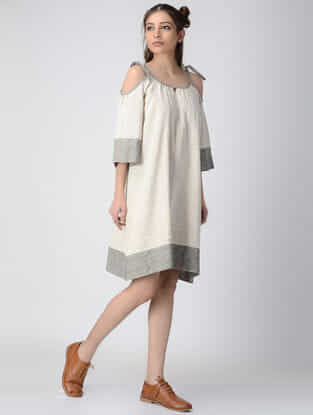 Ivory Checkered Handwoven Organic Khadi Dress